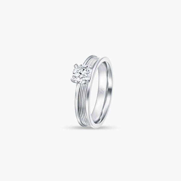 LVC Promise (Slim) Diamond Engagement Ring in White Gold in 4 prongs