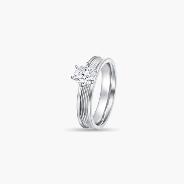 Promise (Slim) Diamond Engagement Ring in White Gold in 6 prongs