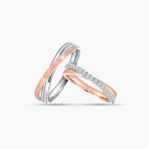 LVC Desirio Duet Couple Wedding Rings Set in Rose Gold and a Band of Diamonds