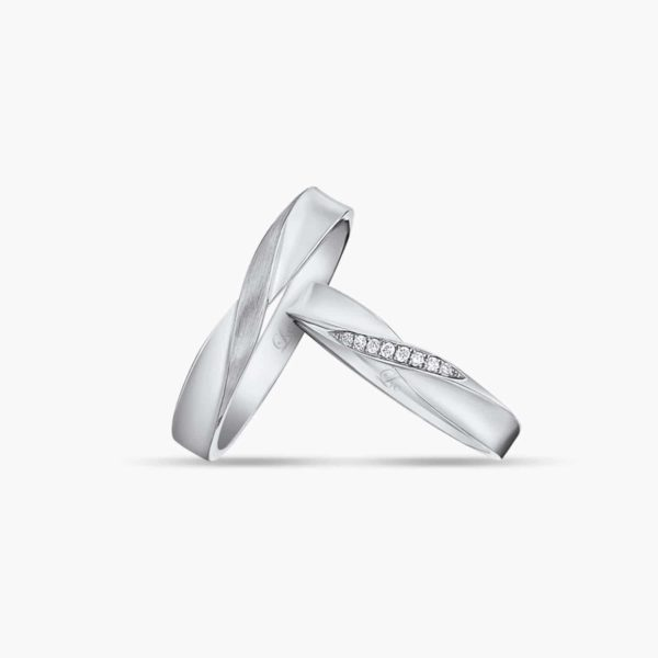 LVC Desirio Infinity Couple Wedding Ring in White Gold with a Band of Diamonds
