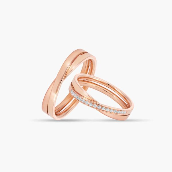 LVC Desirio Cross Couple Wedding Band Set in Rose Gold with Glossy Finish