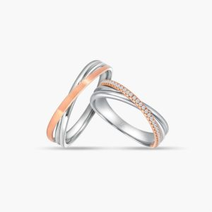 LVC Desirio Cross Wedding Band Pair for couple in White Gold with Matte Rose Gold Band