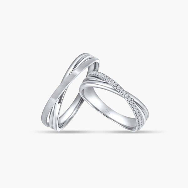 LVC Desirio Cross Wedding Ring Set in White Gold with Brilliant Diamonds on a White Gold Band