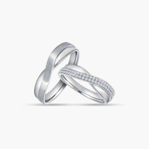 LVC Desirio Cross Couple Wedding Ring Set in White Gold with a Dual Array of Diamonds