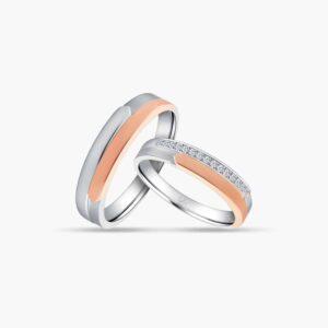 LVC Desirio Couple Wedding Ring Set in White Gold and a Brilliant Set of Diamonds