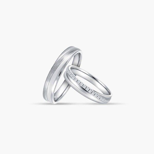 LVC Purete Eternity Couple Wedding Band Set in Platinum with Diamonds