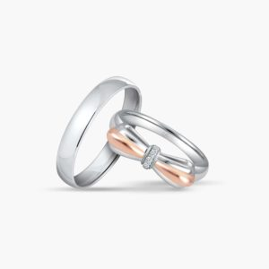 LVC Noeud Bond Wedding Band Set for couple with Rose Gold Bow and Diamond Encrusted Knot