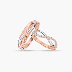 LVC Desirio Destiny Wedding Band Pair for couple in White and Rose Gold with Brilliant Diamonds