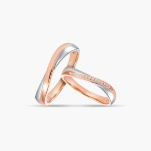 LVC Perfection Bliss Wedding Ring Set in White and Rose Gold