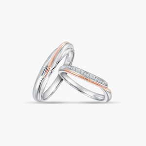 LVC Perfection Grace Wedding Band Set for couples in White and Rose Gold with Diamonds