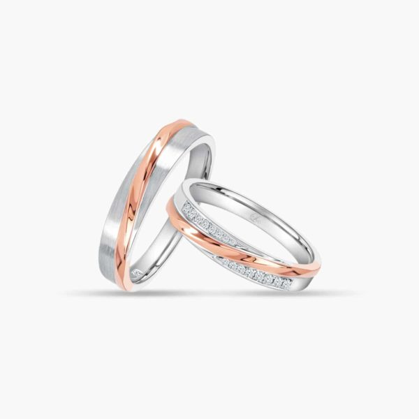 LVC Desirio Allure Couple Wedding Band Pair in White and Rose Gold with Brilliant Diamonds