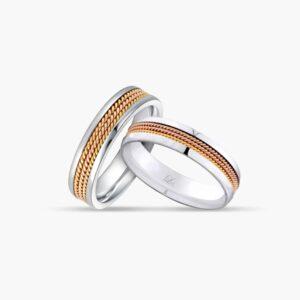 LVC Desirio Wedding Band Pair in Triple Milgrain Design