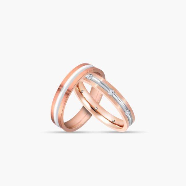 LVC Desirio Barrel Wedding Ring set for couples in Rose Gold