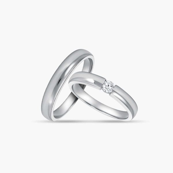 LVC Desirio Classic Wedding Band Set for couples in White Gold