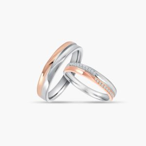 LVC Desirio Couple Wedding Ring Set in Dual White and Rose Gold Glossy Finish