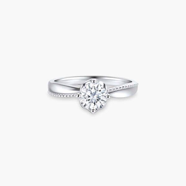 Classic Milgrain Twist Solitaire Diamond Engagement Ring