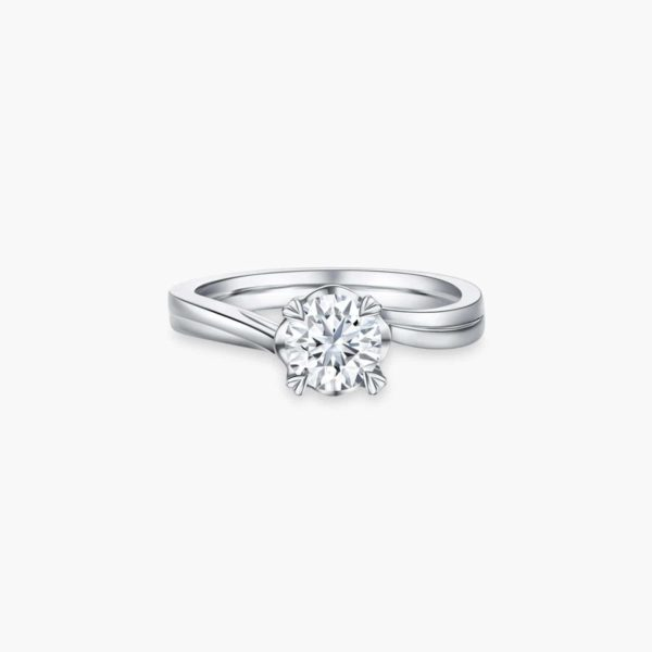 Endear Solitaire Diamond Engagement Ring with Heart Shaped Prongs