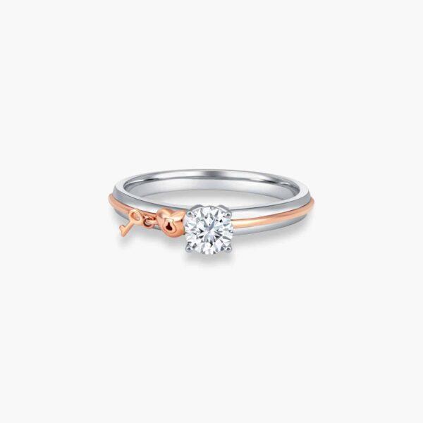 Cheri Solitaire Diamond Engagement Ring in Duo Tones