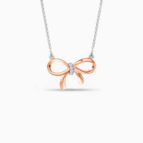 LVC Noeud Femme Diamond Necklace in 14k White and Rose Gold