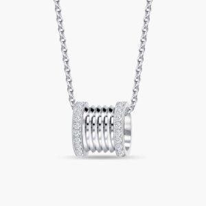 LVC Promise Signature Diamond Pendant in White Gold