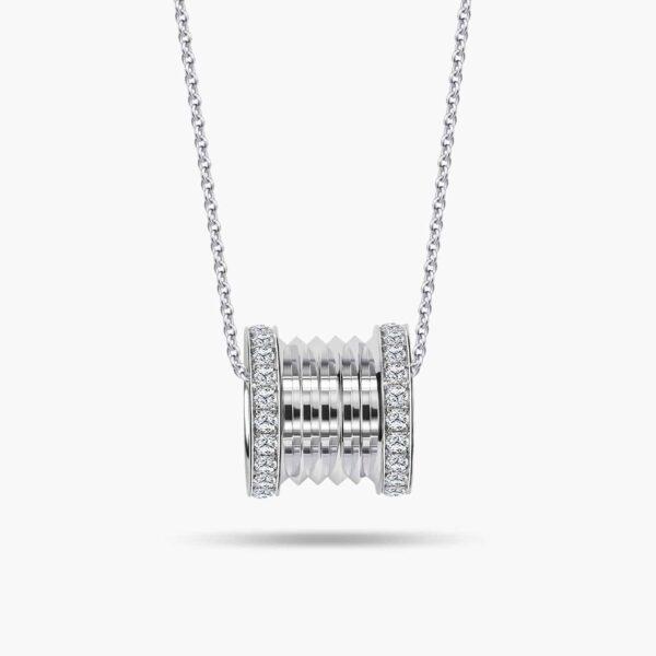 LVC Promise Signature Large Diamond Pendant in 10K White Gold Chain Necklace