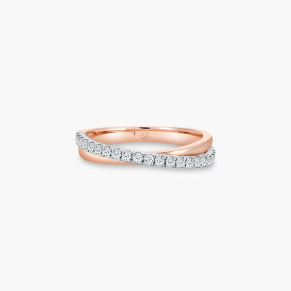 LVC Desirio Duet Wedding Ring for Women in Rose Gold and a Band of Diamonds