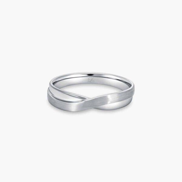 LVC Desirio Cross Men's Wedding Ring in White Gold with Dual Mixed Finish