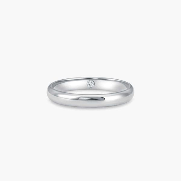 LVC Eterno Men's Wedding Band in White Gold with an Inner Diamond