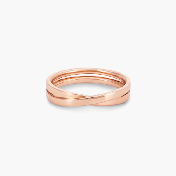 LVC Desirio Cross Wedding Band for men in Rose Gold with Glossy Finish
