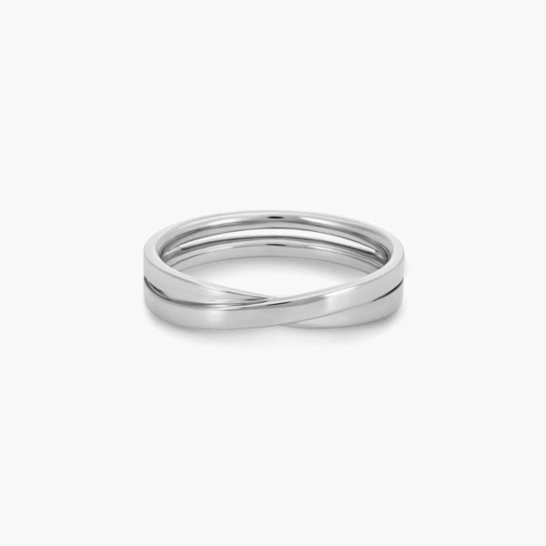 LVC Desirio Cross Wedding Ring for men in White Gold with Glossy Finish