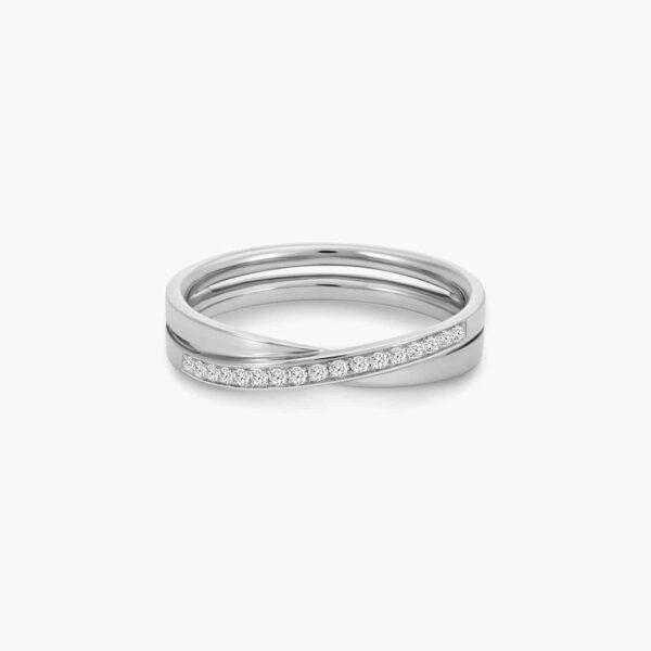 LVC Desirio Cross Wedding Ring for women in White Gold with Diamonds