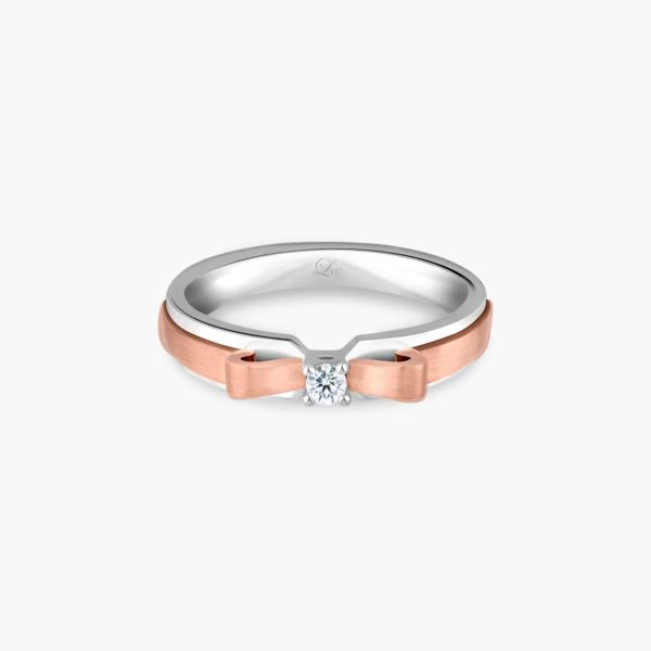 LVC Noeud Cherry Women's Wedding Ring in Rose Gold with Diamonds