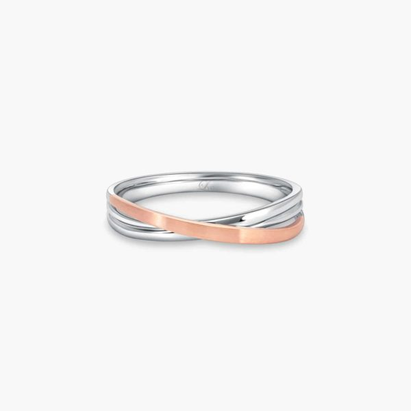 LVC Desirio Cross Wedding Ring for men in White Gold with Matte Rose Gold Band