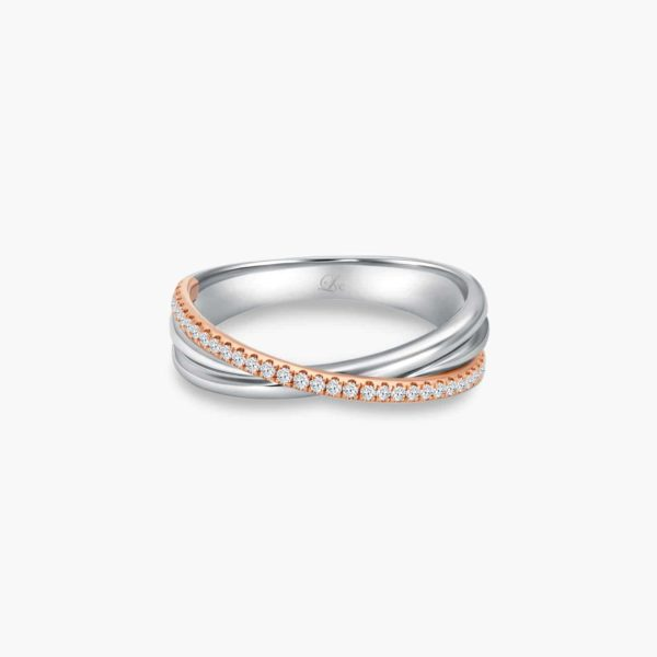 LVC Desirio Cross Wedding Band for women in White Gold with Brilliant Diamonds on a Rose Gold Band