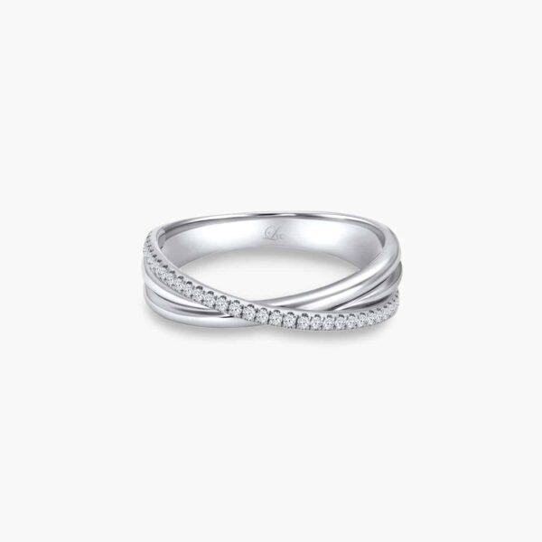 LVC Desirio Cross Women's Wedding Ring in White Gold with Brilliant Diamonds on a White Gold Band