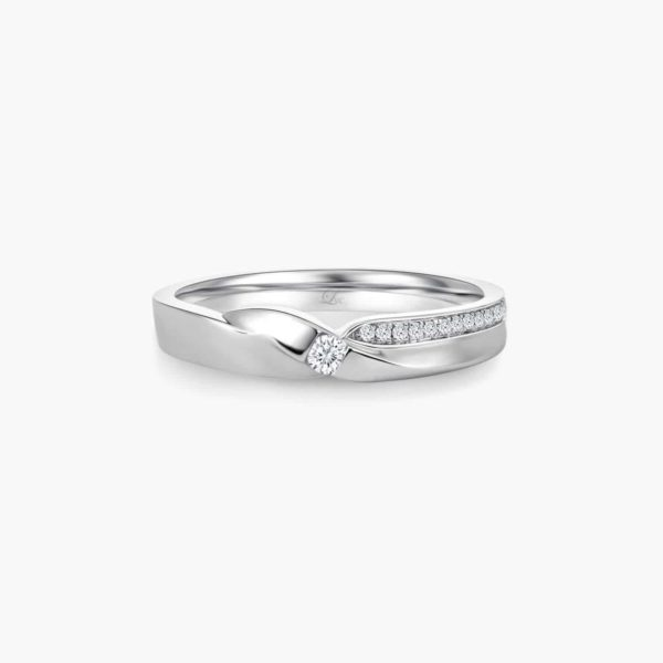 LVC Desirio Passion Women's Wedding Ring in White Gold with a Center Diamond Inlay