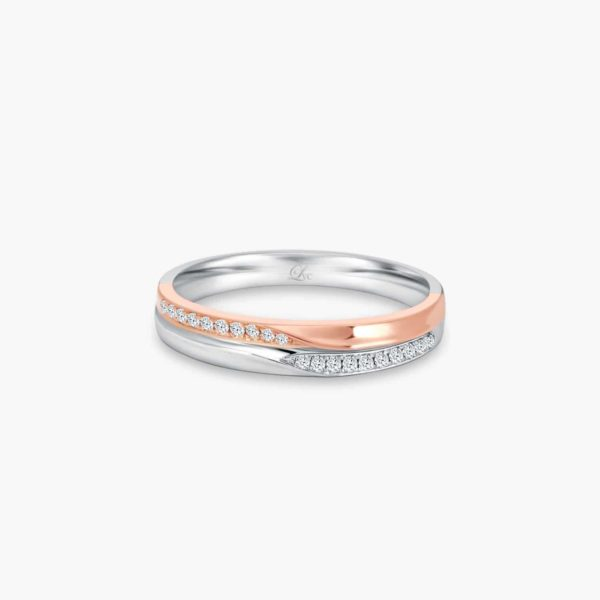 LVC Desirio Women's Wedding Ring in White Gold with Rose Gold Band Inlay with Diamonds