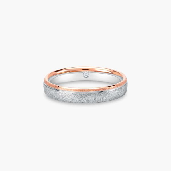 LVC Soleil Wedding Ring for men in White and Rose gold with an Inner Diamond