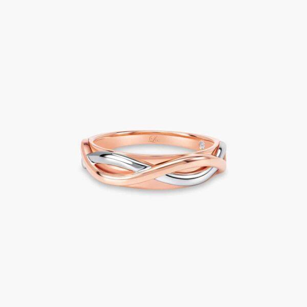LVC Desirio Destiny Wedding Ring for men in White and Rose Gold