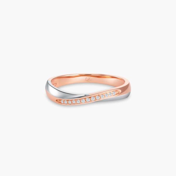 LVC Perfection Bliss Wedding Band for women in White and Rose Gold with Diamonds