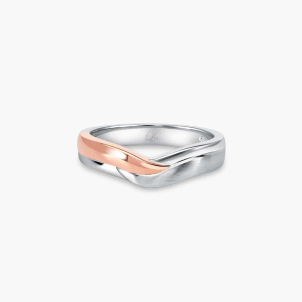 LVC Perfection Hope Wedding Band for men in White and Rose Gold