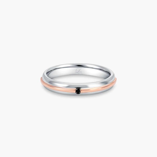 LVC Eterno Men's Wedding Band in White and Rose Gold with Center Black Diamond