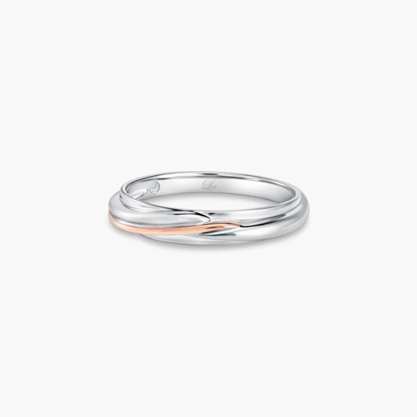 LVC Perfection Grace Men's Wedding Band in White and Rose Gold