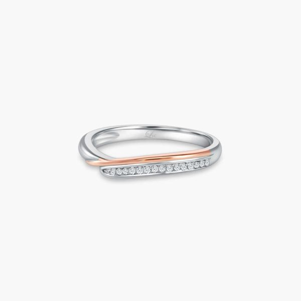 LVC Perfection Grace Wedding Band for women in White and Rose Gold with Diamonds
