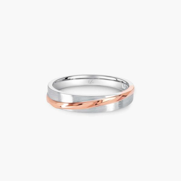 LVC Desirio Allure Wedding Band for men in White and Rose Gold with a Glossy Finish