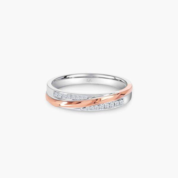 LVC Desirio Allure Women's Wedding Band in White and Rose Gold with Brilliant Diamonds