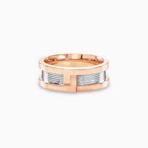 LVC Promise Interlocking Men's Wedding Ring in Rose Gold