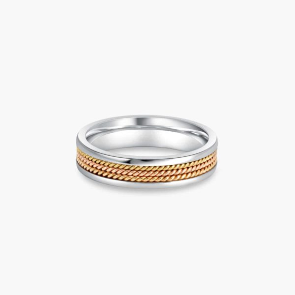 LVC Desirio Men's Wedding Ring in Triple Milgrain Design