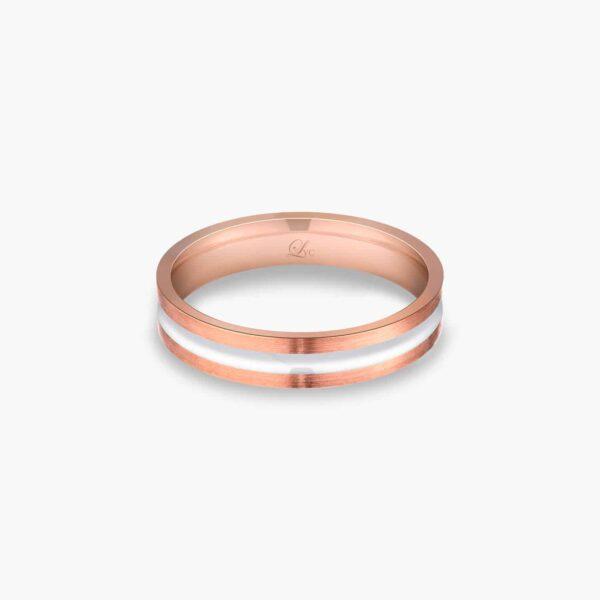 LVC Desirio Barrel Men's Wedding Ring in Rose Gold