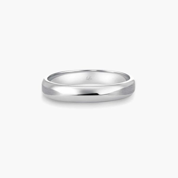 LVC Desirio Classic Wedding Band for men in White Gold with Glossy Finish